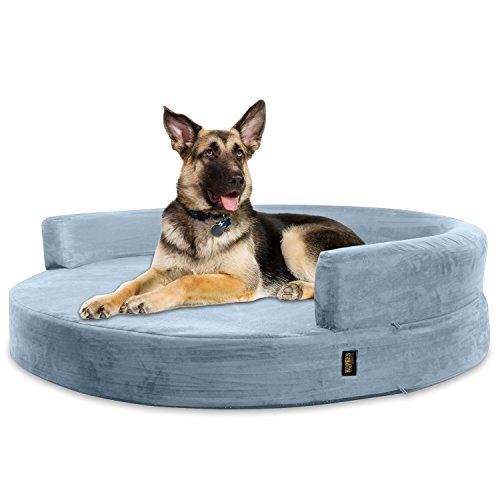 KOPEKS Deluxe Orthopedic Memory Foam Round Sofa Lounge Dog Bed - Jumbo XL - Grey