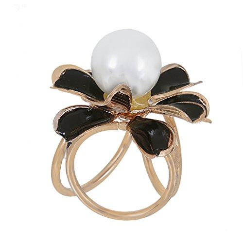 Fasherati bianco perla nero fiore per sciarpe sciarpa spilla per ragazze