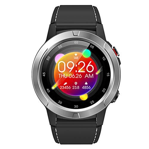 HJKPM GPS Pedómetro Compass Smartwatch, Reloj Deportivo Al Aire Libre Bluetooth Smart Watch for ECG PPG HRV Detección del Sueño,Gris