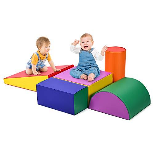 GOPLUS Set Giocattolo di 5 Blocchi per Bambini in Schiuma, Grandi Mattoni Leggeri di Diversi Colori e Forme, Gioco da Bambini Divertente con Scivolo