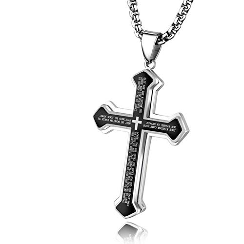 Jesus Christ Bible Cross Men's Necklace, Stainless Steel Antique Finish, Silver Pendant Necklace,18inch