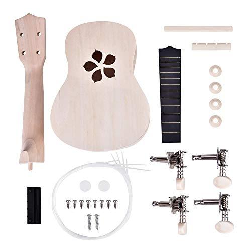 DIY Ukelele Beginner Maak je eigen 21 '' Basswood Concert Ukelele Kit Leer, speel 4 snaren Hawaii Gitaar Muziekinstrument Kinderspeelgoed Geschenk (bloemblaadje)