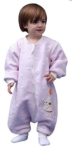 Happy Cherry - Gigoteuse à Manches Amovibles Sac de Couchage Bébé en Coton Combinaison Enfant Bébé Fille Garçon pour Automne Hiver Rose 18-24 mois