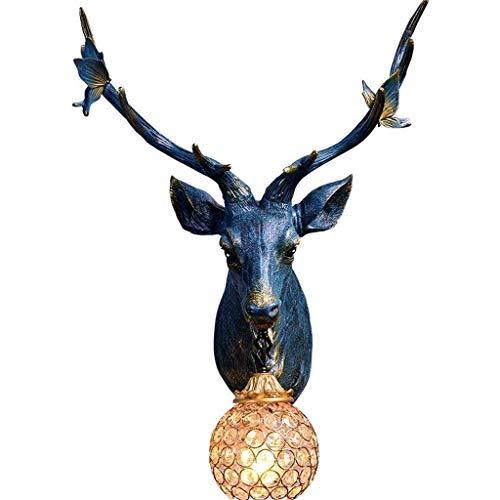 HDDD Deer Teste Antlers wandlamp van hars in vintage-stijl 1 licht, wandlamp hoorn landschap landschap woonkamer bar koffie kristallen lampen, blauw