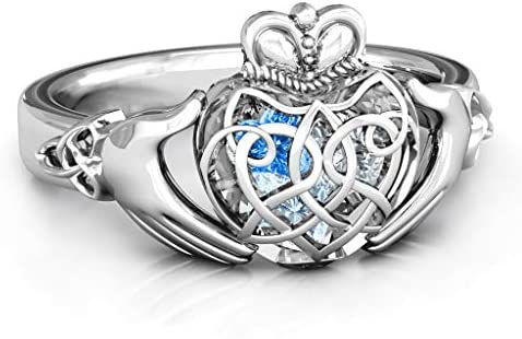 TSD Sterling Silver Caged Hearts Celtic Claddagh Ring by JEWLR product image