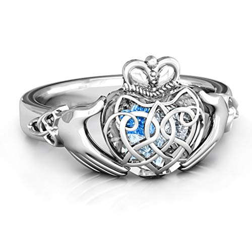 TSD 10K White Gold Caged Hearts Celtic Claddagh Ring by JEWLR