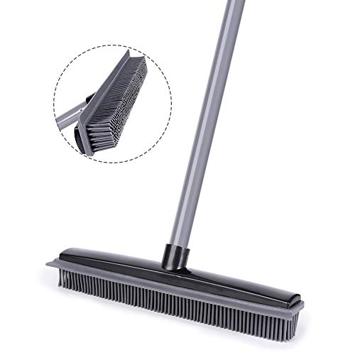 Push Broom, Soft Bristle Rubber Sweeper Squeegee Edge with 59 inches Adjustable Long Handle, Non Scratch Bristle Broom for Pet Cat Dog Hair Carpet Hardwood Floor Tile Windows Cleaning (Black)