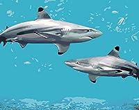 こどもの日の贈り物 DIY油絵 子供 初心者数字油絵 海のサメ 手塗り数字キット による絵画 壁飾り ホームデコレーション デジタル油絵 40* 50 cm(フレームレス)