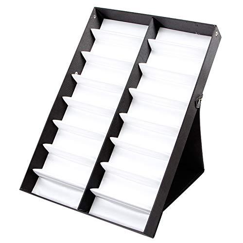 TOOGOO Vitrina de Gafas Caja de Almacenamiento de 16 Pares con Tapa Plegable para Gafas de Sol Caja de Gafas