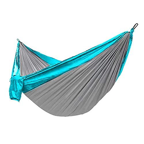 HLYT-0909 Amaca da Campeggio Portatile all'aperto Altalena per Adulti in Nylon con Paracadute, Amaca Doppia Grande con Corda e Ganci per appendere/300x200cm,Royal Blue