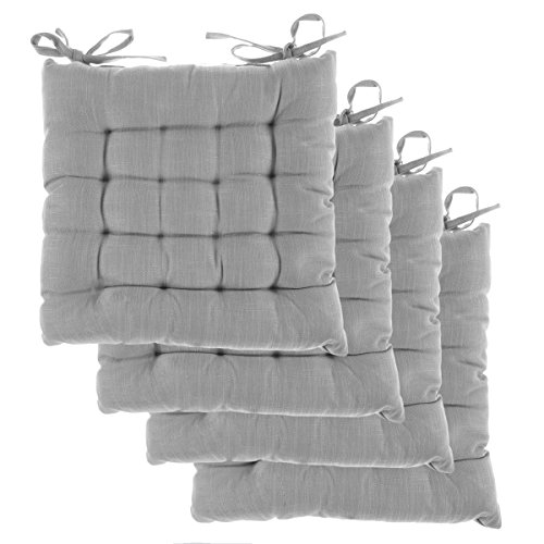 DreamHome (Set of 4) Indoor Chair Pads with Ties, 14 Inches Square Tufted Cushion, Seat Cushion, Cushions with Ties