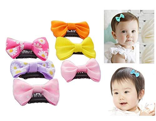12 clips para el pelo de bebé pequeños para el pelo fino, cinta de grogrén, lazos para el pelo, accesorios para bebés y niñas recién nacidas (colores al azar)