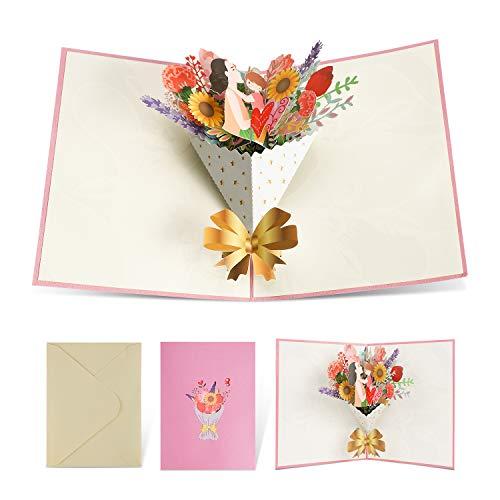 ANSUG 3D Tarjetas Cumpleaños AgradecimientoTarjeta Bouquet Tarjeta para Aniversario Día Madre Agradecimiento Boda Navidad
