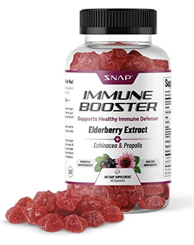 Snap Elderberry Gummies Immune Support Supplement with Vitamin C, Propolis, Echinacea Extract Elderberry Gummies for Kids & Adults - Immune Boost & Supports Recovery from Cold, 60 Gummies (1 Pack)