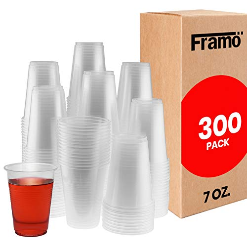 7 Oz Clear Disposable Plastic Cups by Framo For Any Occasion Ice Tea Juice Soda and Coffee Glasses for Party Picnic BBQ Travel and Events 300 clear