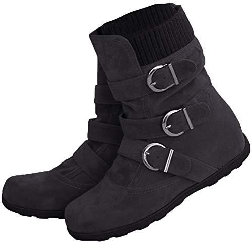 Minetom Damen Boots Flach Gefütterte Schlupf Stiefel Stiefeletten Schwarz 40 EU