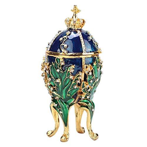 Sheens Pintado a Mano Enredaderas de Coral esmaltado Faberge Huevo Collar de Metal Anillo sostenedor de la joyería con Diamantes de imitación Brillantes para Regalo de decoración del hogar