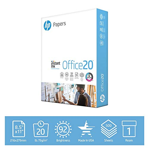 HP Printer Paper 8.5x11 Office 20 lb 1 Ream 500 Sheets 92 Bright Made in USA FSC Certified Copy Paper HP Compatible 112150R