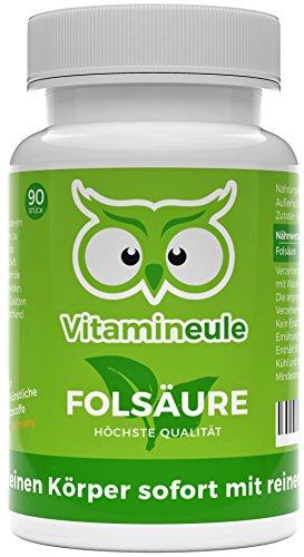 Folsäure Kapseln - 800 µg hochdosiert - bei Kinderwunsch & Schwangerschaft - ohne künstliche Zusatzstoffe - Qualität aus Deutschland - 800 µg Folsäure ohne Jod (Vitamin B9) - Vitamineule®