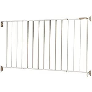 "Extra wide for large doorways: This safety gate fits spaces between 40"" and 64"" wide and is 26.5"" high; Great for fencing off rooms used less frequently Secure and sturdy: Solid hardware mount this gate requires drilling holes into the wall to provid..."