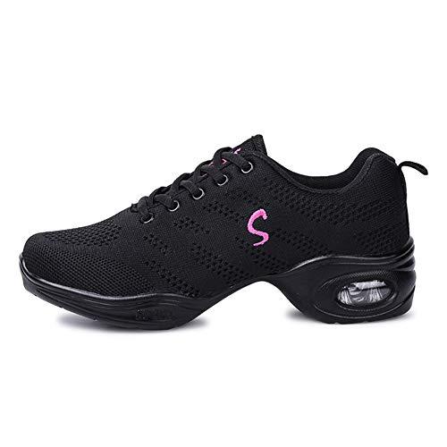 SWDZM mujeres zapatos de baile moderno/hip-hop zapatos de jazz/deportivo zapatillas de deporte/zapatos al aire libre ES-B56 negro 38 EU
