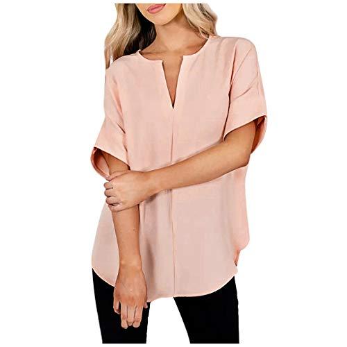 Dasongff dames V-hals blouse met turn-up mouwen tuniek tops elegant eenkleurig onregelmatige bovenstuk tops vrijetijdshemd modieus zomertops Small roze