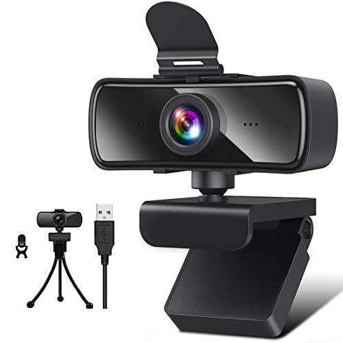 Webcam HD 2K con Micrófono, Cámara Web Full HD 1440P Cámara Web USB Plug and Play Cámara Web de Transmisión para Videollamadas Estudiar Juegos de Conferencias en Línea