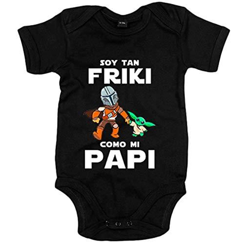 Body bebé soy tan friki como mi papi parodia baby yoda - Negro, 6-12 meses