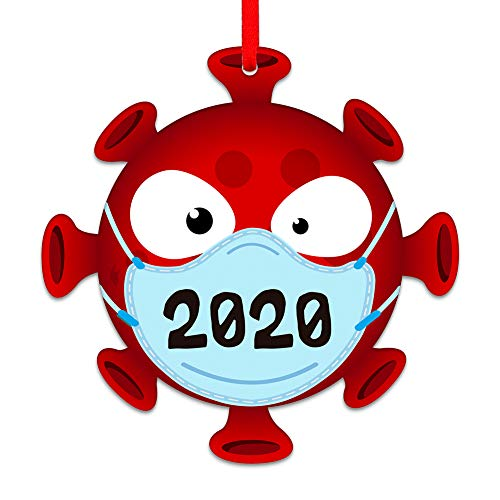 SICOHOME 2020 Christmas Ornament, 3.5' Face Mask Quarantine Christmas Ornament,Covid Ornament for Christmas Tree Decoration,Mask Ornament 2020