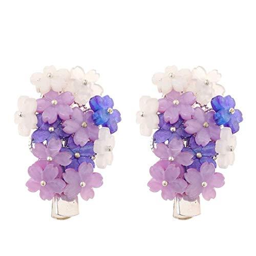JYDQM Púrpura Encantadora Flor Clips de Pelo Vintage Horquillas pequeñas puños de Pelo para Mujeres Estilo Chino Pelo Accesorios de joyería (Color : A)
