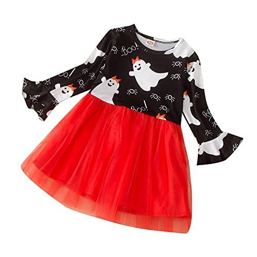 upxiang Costume Halloween Bambini Vestito Bambino Gonna Stampa Manica Lunghe Princess Dress di Halloween Festa a Tema Cosplay Abbigliamento Costume Partito Abito Tuta Regalo per 2-7 Anni