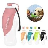 Petsoigné Botella de Agua para Perros Portátil Botella para Perros de Silicona para Salir (Rosa)