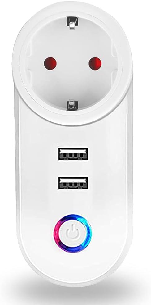 16 A Enchufe inteligente Wi-Fi, Smart Plug con 2 puertos USB,Control Remoto y Función de Temporizador Compatible con Alexa y Google Home,No Requiere Concentrador