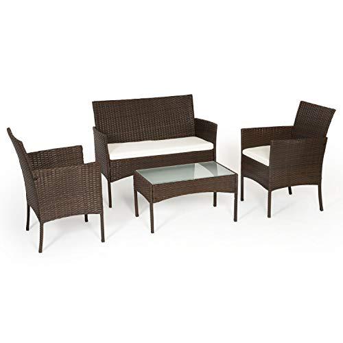 Beneffito Tulum - Conjunto Muebles de jardín en Resina Trenzada Negro - 4 plazas, 2 sillones, 1 Mesa Baja, 1 Banco - con Cojines de Asiento con Cremallera (Marrón)
