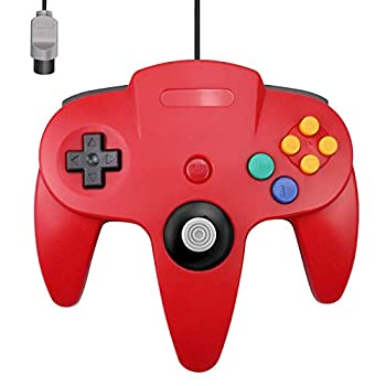 N64 Controller King Smart Classic Wired N64 Controllers with Upgraded Joystick for Original Nintendo 64 Console Red