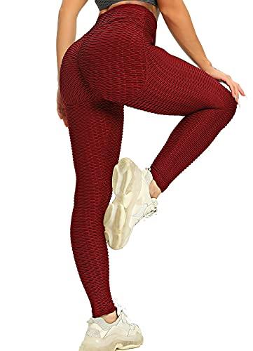Hoppole Leggings para mujer, corte ajustado con control de abdomen, pantalones de entrenamiento Honeycomb opacos, cintura alta, elásticos, mallas de fitness Nuevo. : Vino Rojo M