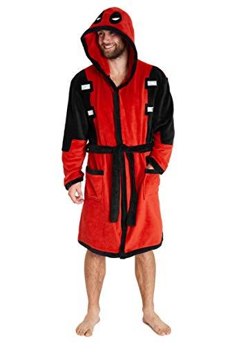 Marvel Deadpool Bademantel Herren mit Kapuze, Kuschelig Fleece Morgenmantel für Herren, Offizielles Merchandise, Deadpool Geschenke für Männer (Rot, XL)