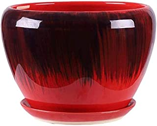 Kotee Färgblomkruka med fack grön pepparrot växt Stand Keramik krukor för Outdoor Indoor (Färg : A, Size : S)