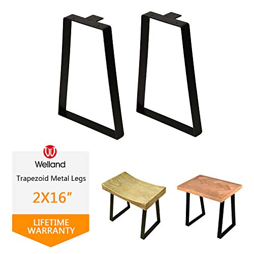 16 '' Tall Trapezoid Metal Table Legs for Furniture, Bench Legs, Coffee Table Legs Set of 2, DIY