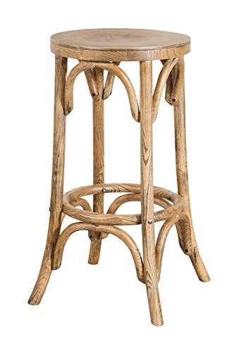 Biscottini - Taburete tipo Thonet de madera maciza de fresno, acabado nogal claro envejecido, diámetro 39 x altura 75 cm
