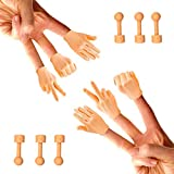Daily Portable Tiny Hands (Rock, Paper, Scissors, + Holding Sticks) - 6 Pack + 6X Bonus Holding Sticks- Fist Bump, Peace Sign, and High Five Mini Hand Puppet