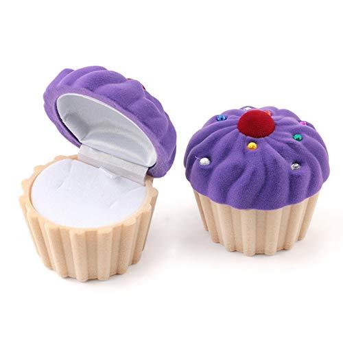 LYR 1 Pieza Encantadora Pastel Caja de Regalo Caja de joyería Caja de joyería Terciopelo Caja de Anillo de Boda para Pendientes Collar-Purple