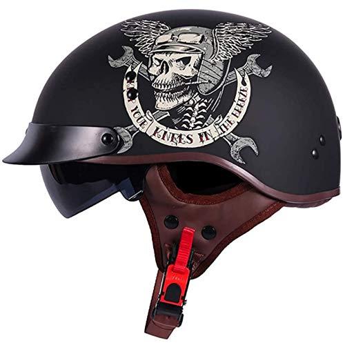 Motorrad-Halbhelm-Helm Mit Offenem Gesicht Cruiser Chopper-Bikerhelm Im Deutschen Stil, ABS-Kunststoff-Helm Mit Halbem Gesicht Für Erwachsene Für Curiser-Tourenroller F,M