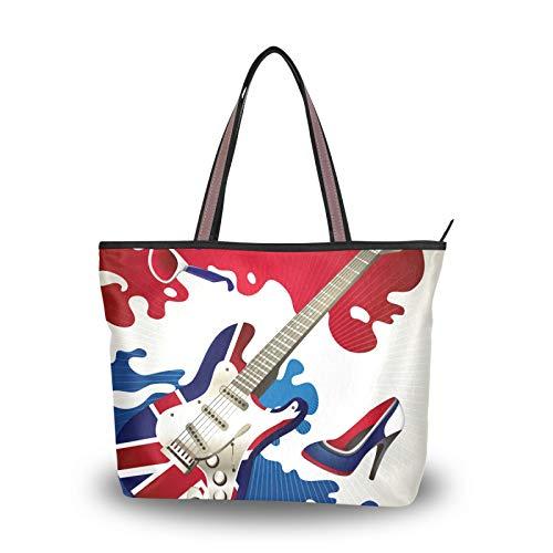 NaiiaN Bolsos de mano, bolso de mano para guitarra eléctrica, bolso de compras con correa liviana, bolsos de hombro para mujeres, niñas, estudiantes