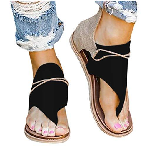 Writtian Sandalias Mujer Verano 2021,Sandalias Punta Abierta Cuero Fondo Plano Zapatos Bohemias Gladiador Romanas Hebilla Zapatillas separador de dedos Chanclas Clip Toe Casual Zapatos de Playa