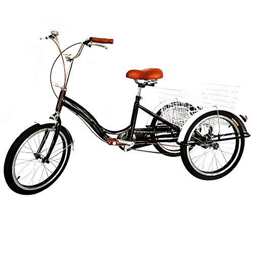 Bicicleta para adultos de 3 ruedas de 20 pulgadas con cesta de la compra StableTricycle Trike City Bicicletas para personas mayores deportes al aire libre