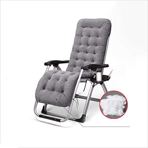 JIEER-C vrijetijdsstoelen tuin zonneligstoelen ijzeren buizen + stof + katoenmat multifunctionele ligstoel strandstoel texoline multi-hoekinstelling vouwbare hoofdsteun 2 kleuren duurzaam sterk grijs