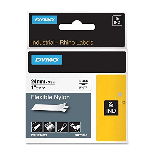 Rhino 1734524 1-Inch (24MM) Flexible Nylon Tape, Print Black on White Tape
