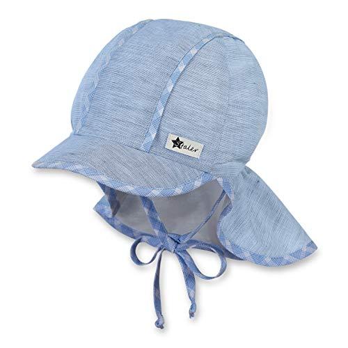 Sterntaler Schirmmütze für Jungen mit Bindebändern und Nackenschutz, Alter: 9-12 Monate, Größe: 47, Hellblau (Himmel)