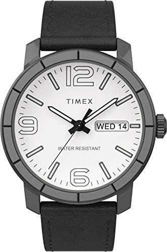 Timex Mod 44 44mm Men Antique Silver-Tone Case Black Leather Strap Watch TWF3C8440